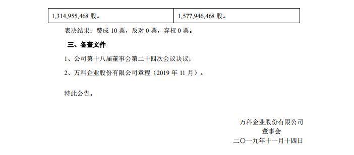 万科A:审议通过《发行境外上市外资股(H股)方案的议案》